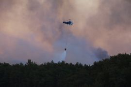 Manavgat'taki orman yangını havadan görüntülendi, gökyüzü dumana büründü